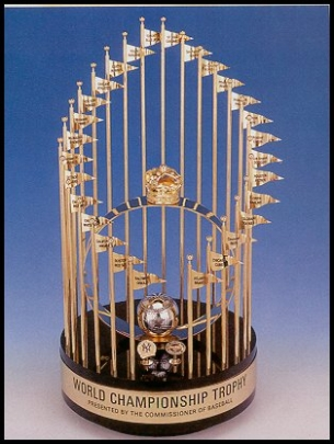 The Commissioners' Trophy is awarded to the World Series winning team. (http://blog.gospikes.com/?p=162)